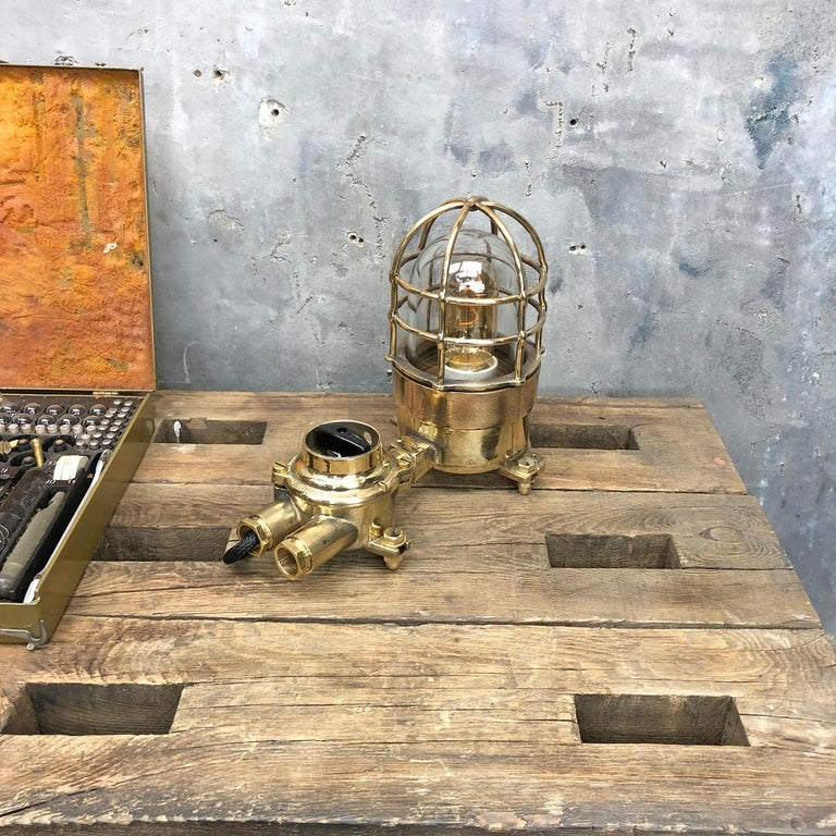 1970s Cast Brass and Bronze Explosion Proof Table Lamp with Isolator Switch For Sale 9