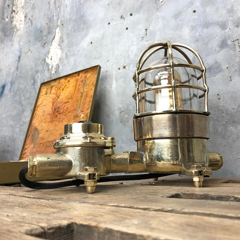 Industrial 1970s Cast Brass and Bronze Explosion Proof Table Lamp with Isolator Switch For Sale
