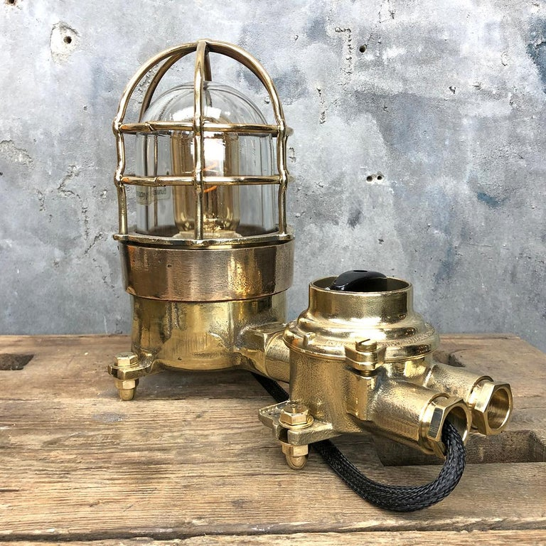 German 1970s Cast Brass and Bronze Explosion Proof Table Lamp with Isolator Switch For Sale
