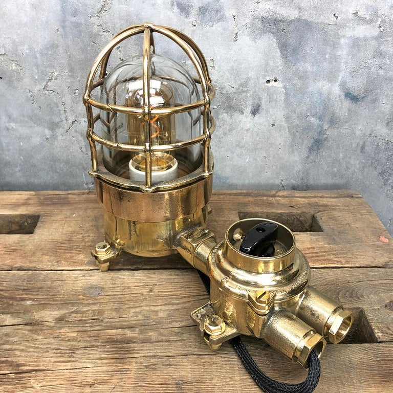 1970s Cast Brass and Bronze Explosion Proof Table Lamp with Isolator Switch In Good Condition For Sale In Leicester, Leicestershire