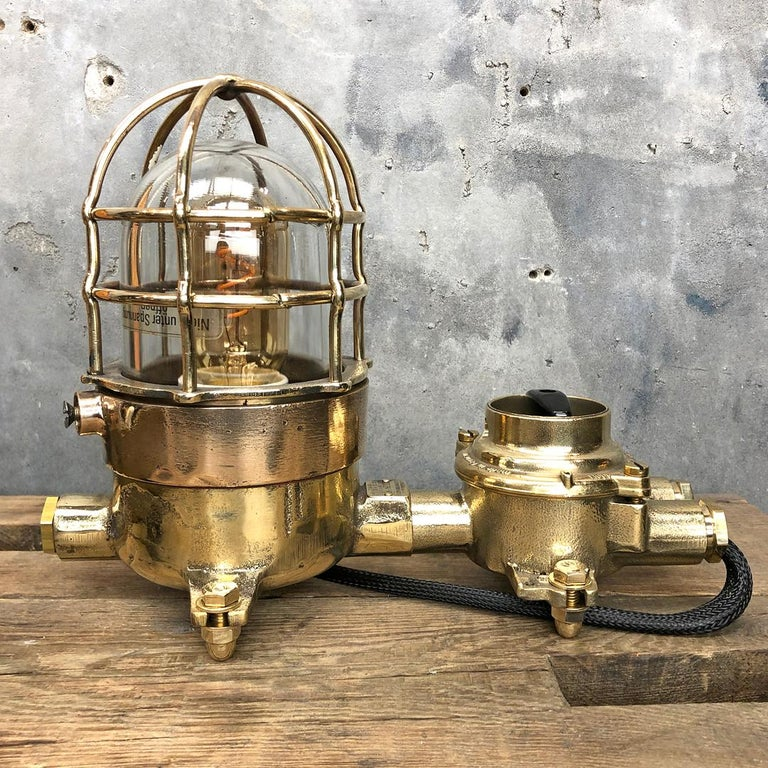 Late 20th Century 1970s Cast Brass and Bronze Explosion Proof Table Lamp with Isolator Switch For Sale