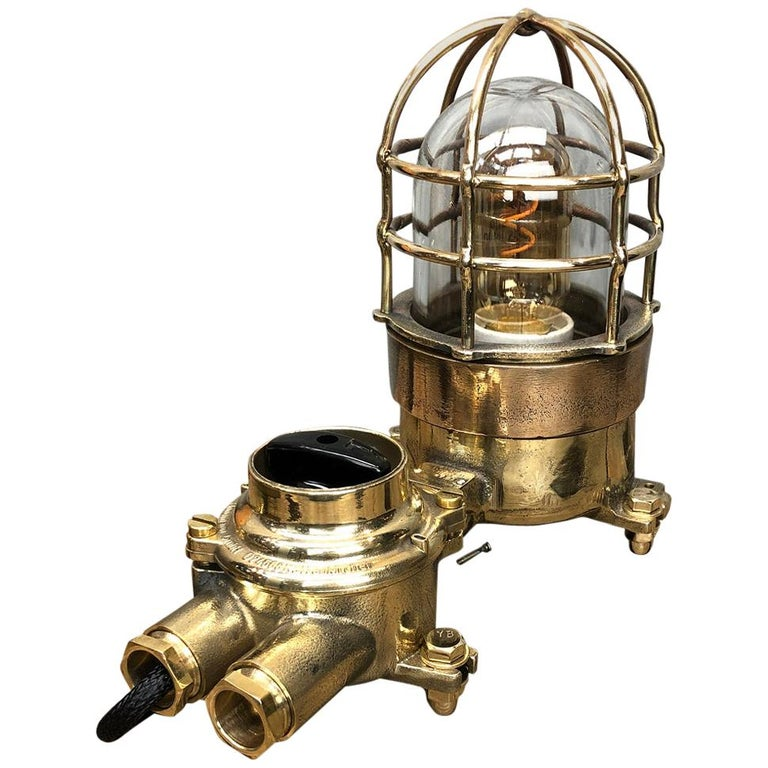 1970s Cast Brass and Bronze Explosion Proof Table Lamp with Isolator Switch For Sale