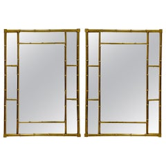 1970s Cast Bronze Modern Faux Bamboo Mirrors Attributed to Mastercraft, a Pair