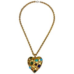 1970s Castlecliff Gold & Glass Cabochon Heart Pendant Necklace