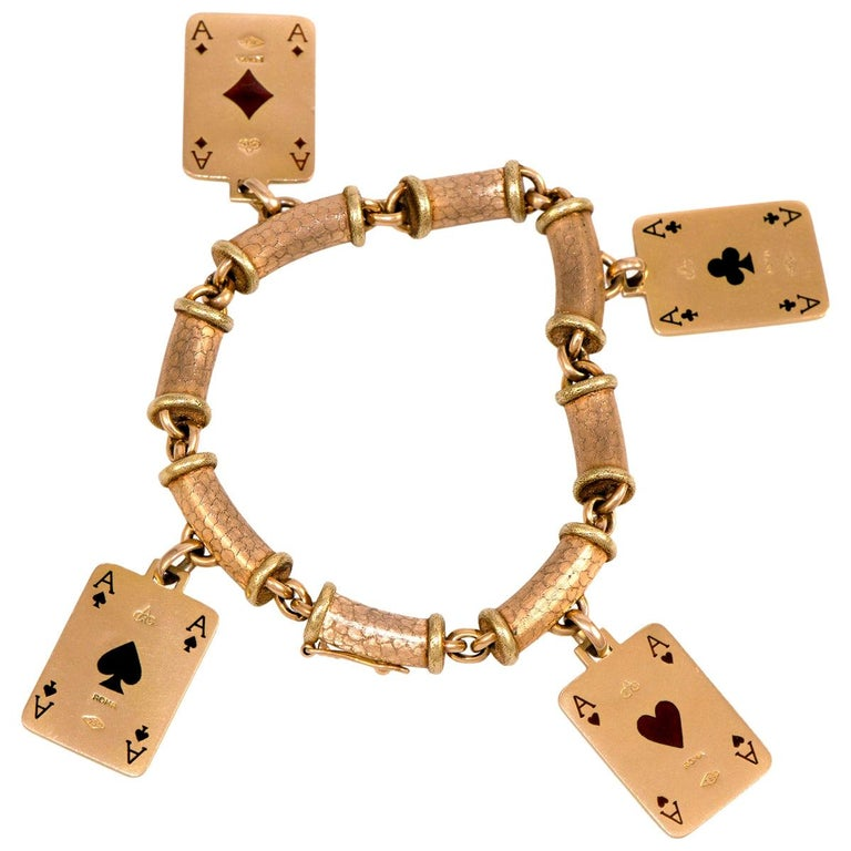 1970s Cazzaniga, Enamel and Gold Playing Card Charm Bracelet For Sale