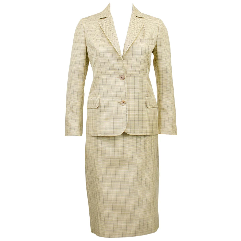 1970s Celine Beige Glen Check Silk Skirt Suit