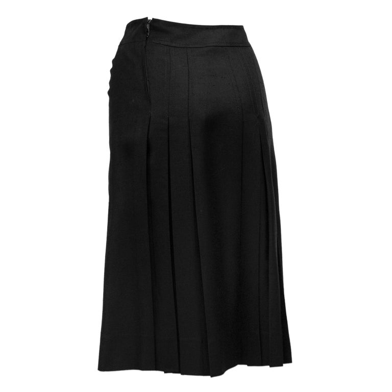 1970s Celine Black Pleated Skirt In Good Condition For Sale In Toronto, Ontario