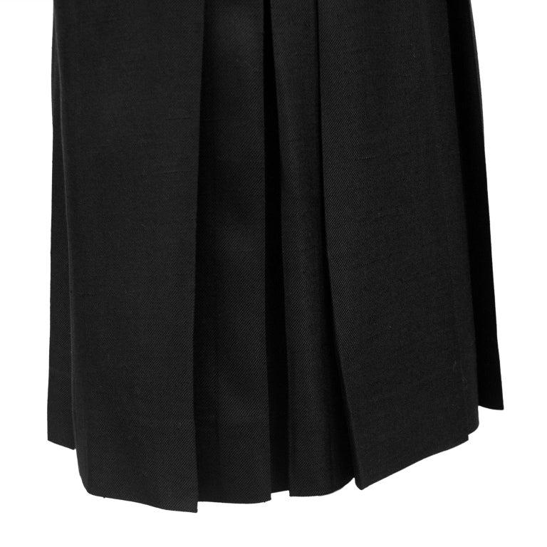 1970s Celine Black Pleated Skirt For Sale 1