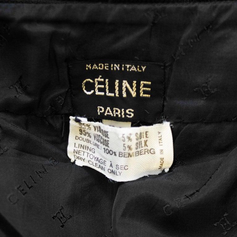 1970s Celine Black Pleated Skirt For Sale 2