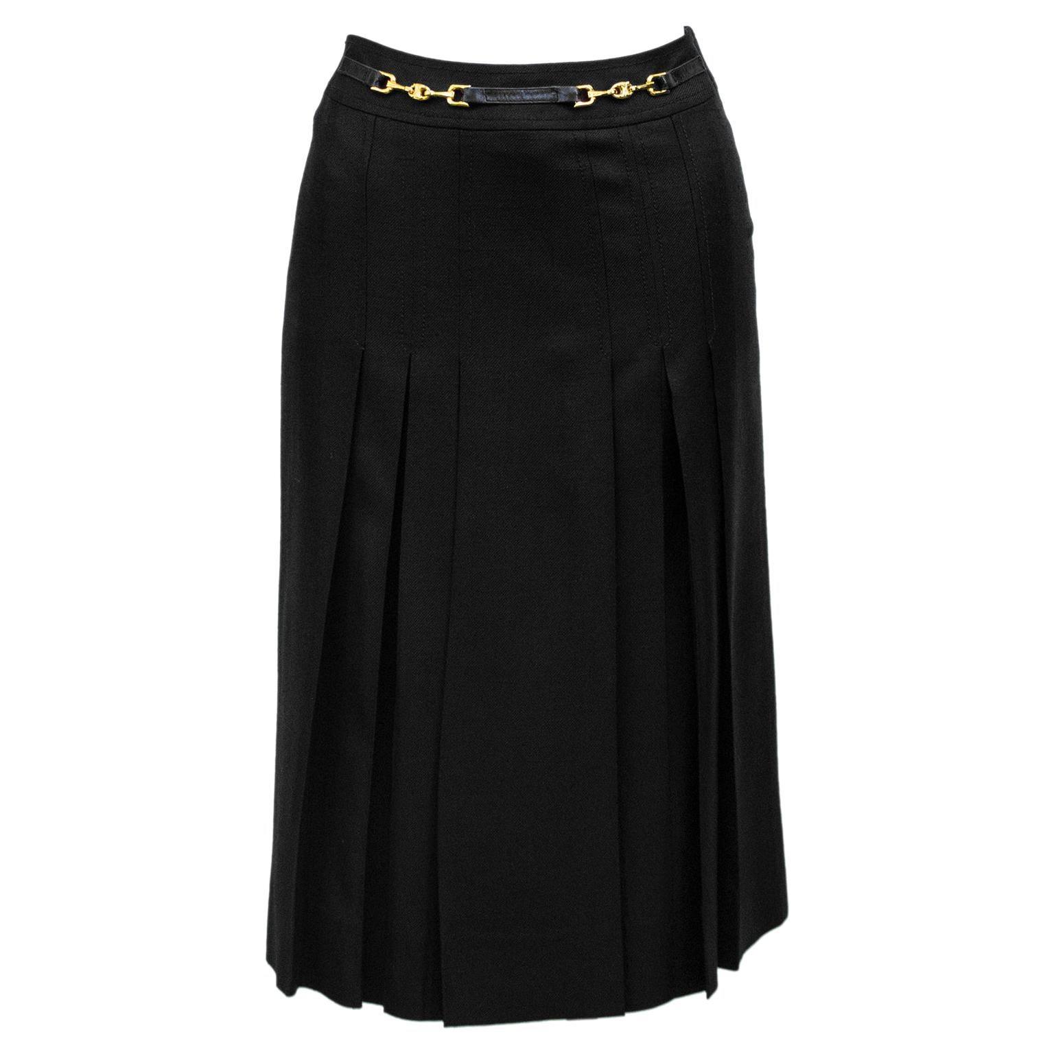 1970s Celine Black Pleated Skirt
