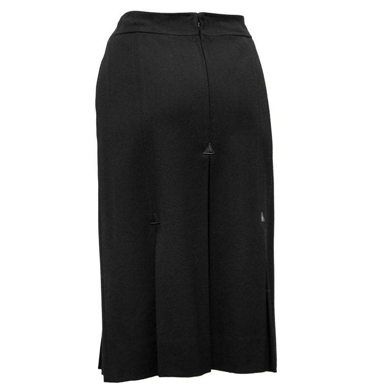1970's Celine Black Wool Gabardine Pleated Skirt In Good Condition For Sale In Toronto, Ontario