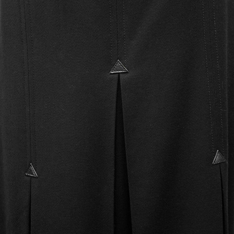 1970's Celine Black Wool Gabardine Pleated Skirt For Sale 1
