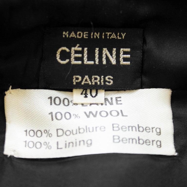 1970's Celine Black Wool Gabardine Pleated Skirt For Sale 2
