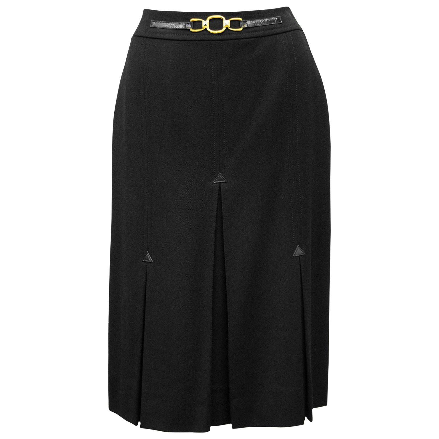 1970's Celine Black Wool Gabardine Pleated Skirt