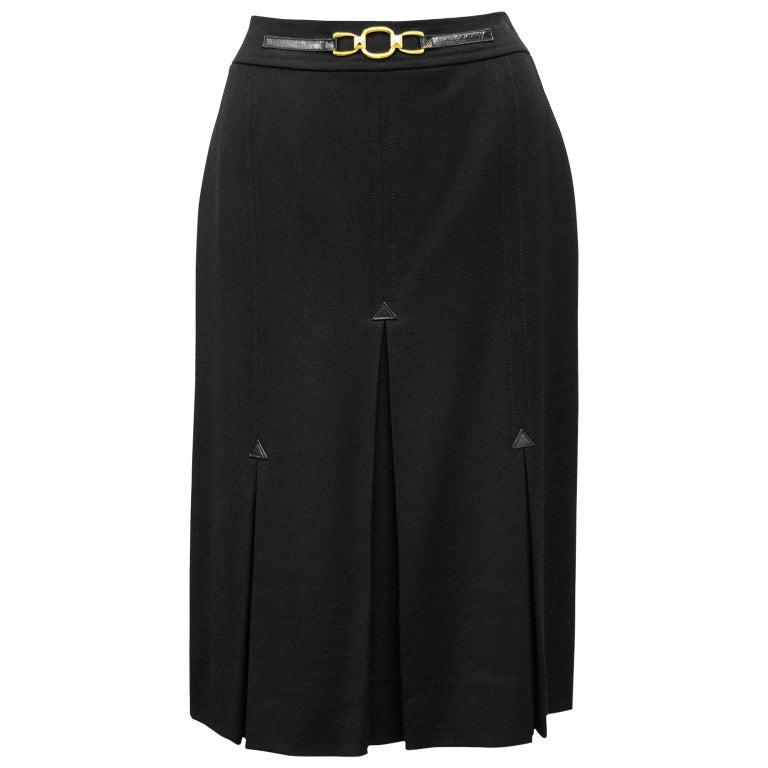 1970's Celine Black Wool Gabardine Pleated Skirt For Sale