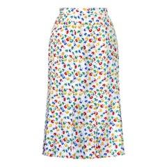 1970s Celine Floral Print Skirt