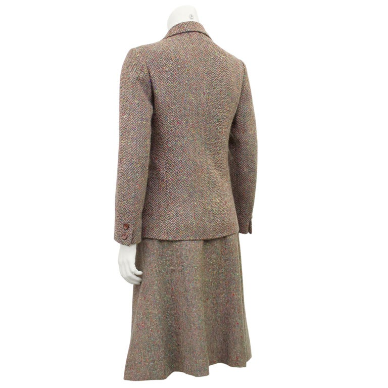 Gray 1970s Celine Herringbone Wool Skirt Suit  For Sale