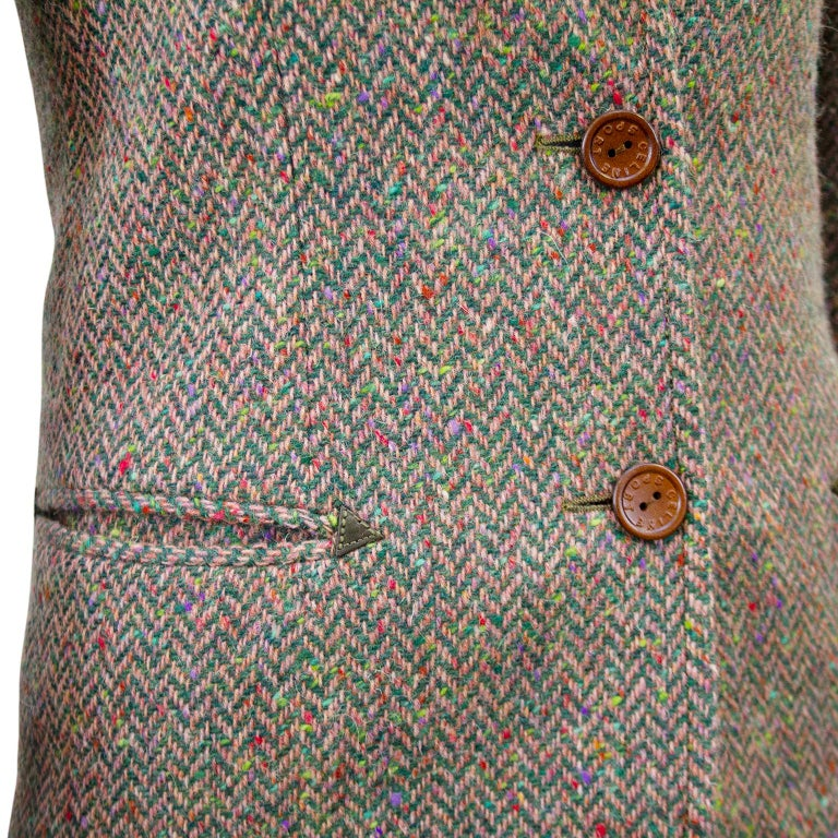 1970s Celine Herringbone Wool Skirt Suit  For Sale 1