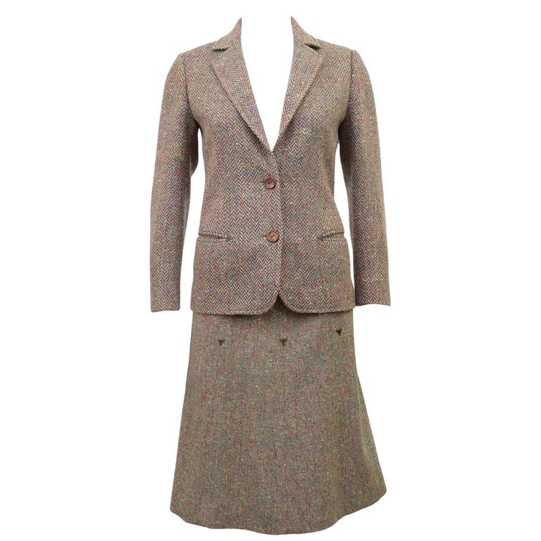 1970s Celine Herringbone Wool Skirt Suit  For Sale