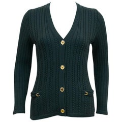 1970's Celine Hunter Green Cable Knit Cardigan