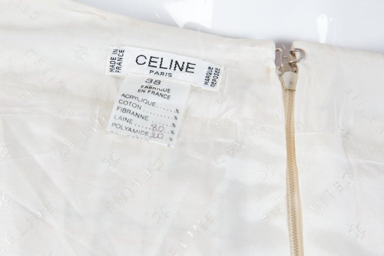 1970s Celine Iconic Ivory Wool Pleated Skirt  For Sale 1