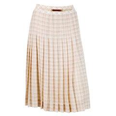 1970s Celine Iconic Ivory Wool Pleated Skirt