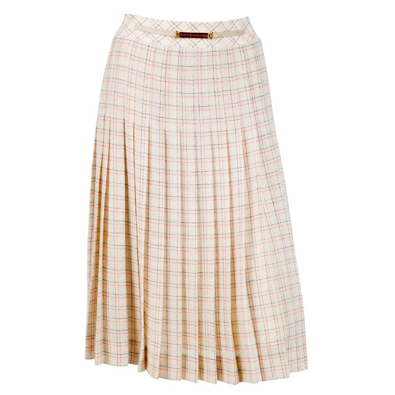 1970s Celine Iconic Ivory Wool Pleated Skirt  For Sale