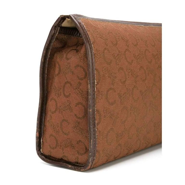 Brown 1970s Céline Jacquard Beauty Case For Sale