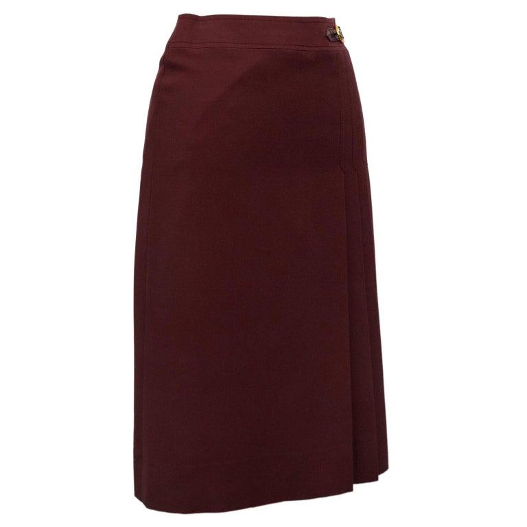 Black 1970s Celine Maroon Wool Gabardine Pleated Skirt For Sale