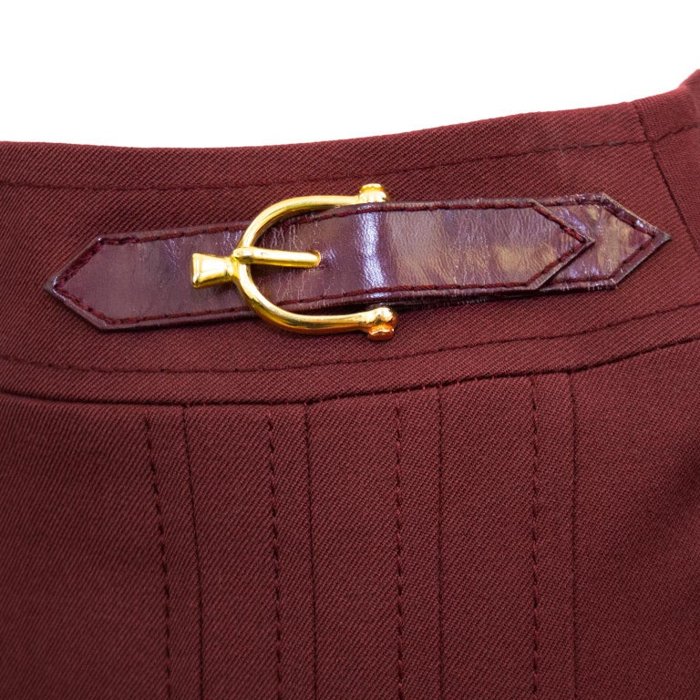 1970s Celine Maroon Wool Gabardine Pleated Skirt In Good Condition For Sale In Toronto, Ontario