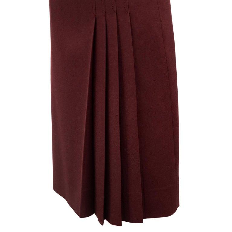Women's 1970s Celine Maroon Wool Gabardine Pleated Skirt For Sale