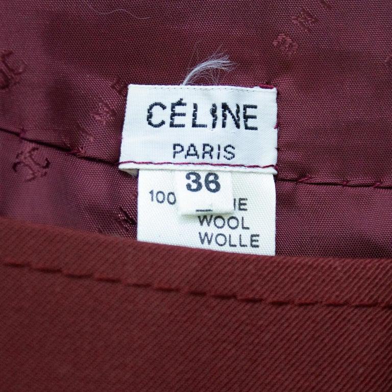 1970s Celine Maroon Wool Gabardine Pleated Skirt For Sale 1