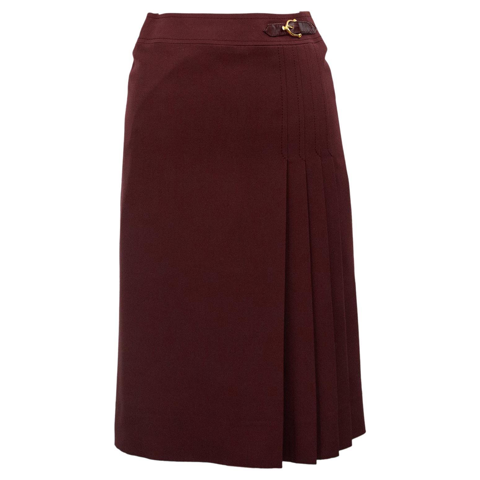 1970s Celine Maroon Wool Gabardine Pleated Skirt