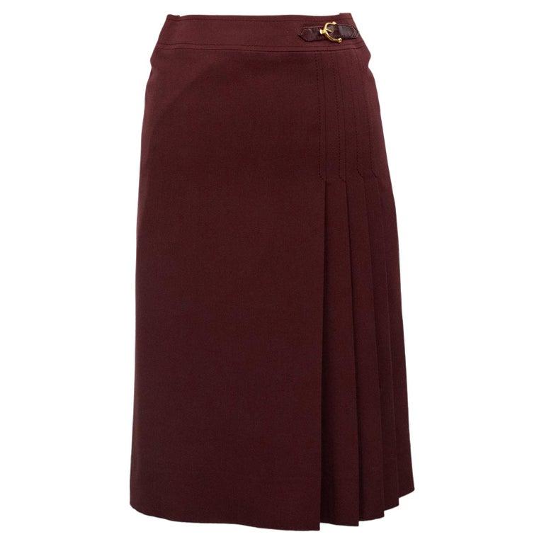 1970s Celine Maroon Wool Gabardine Pleated Skirt For Sale