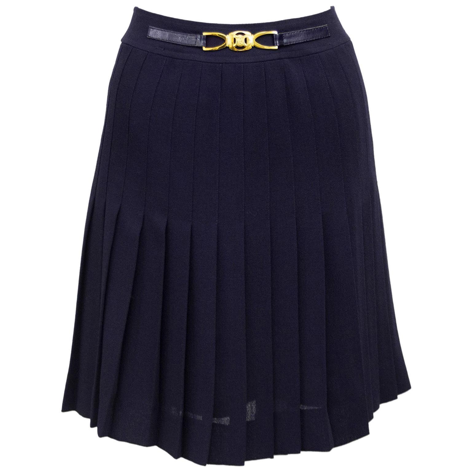 1970s Celine Navy Pleated Skirt