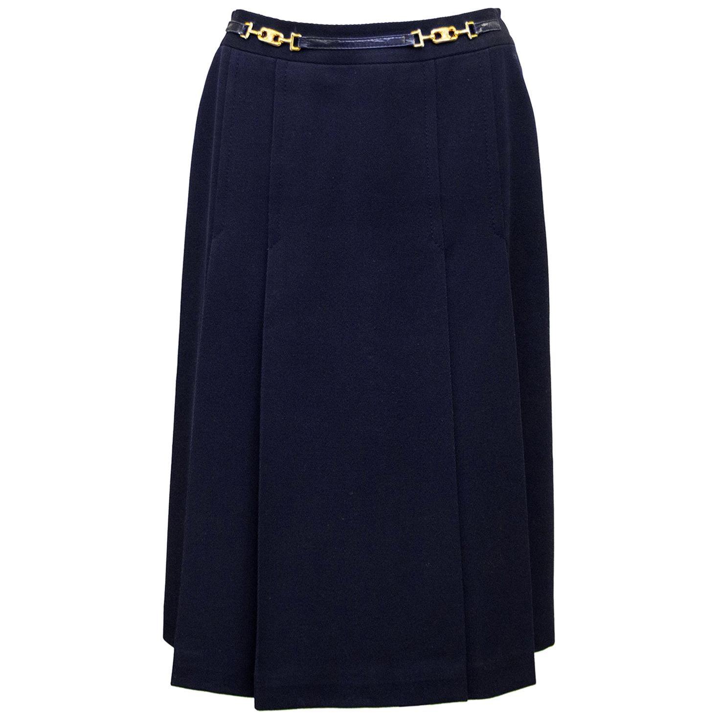 1970s Celine Navy Wool Gabardine Pleated Skirt