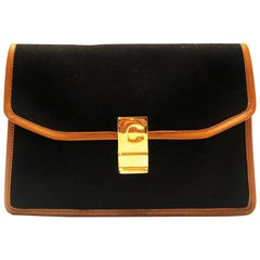 1970s Celine Paris cloth leather logo envelope clutch bag