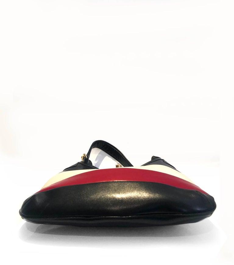 Black 1970s Celine Paris tri color tote bag  For Sale