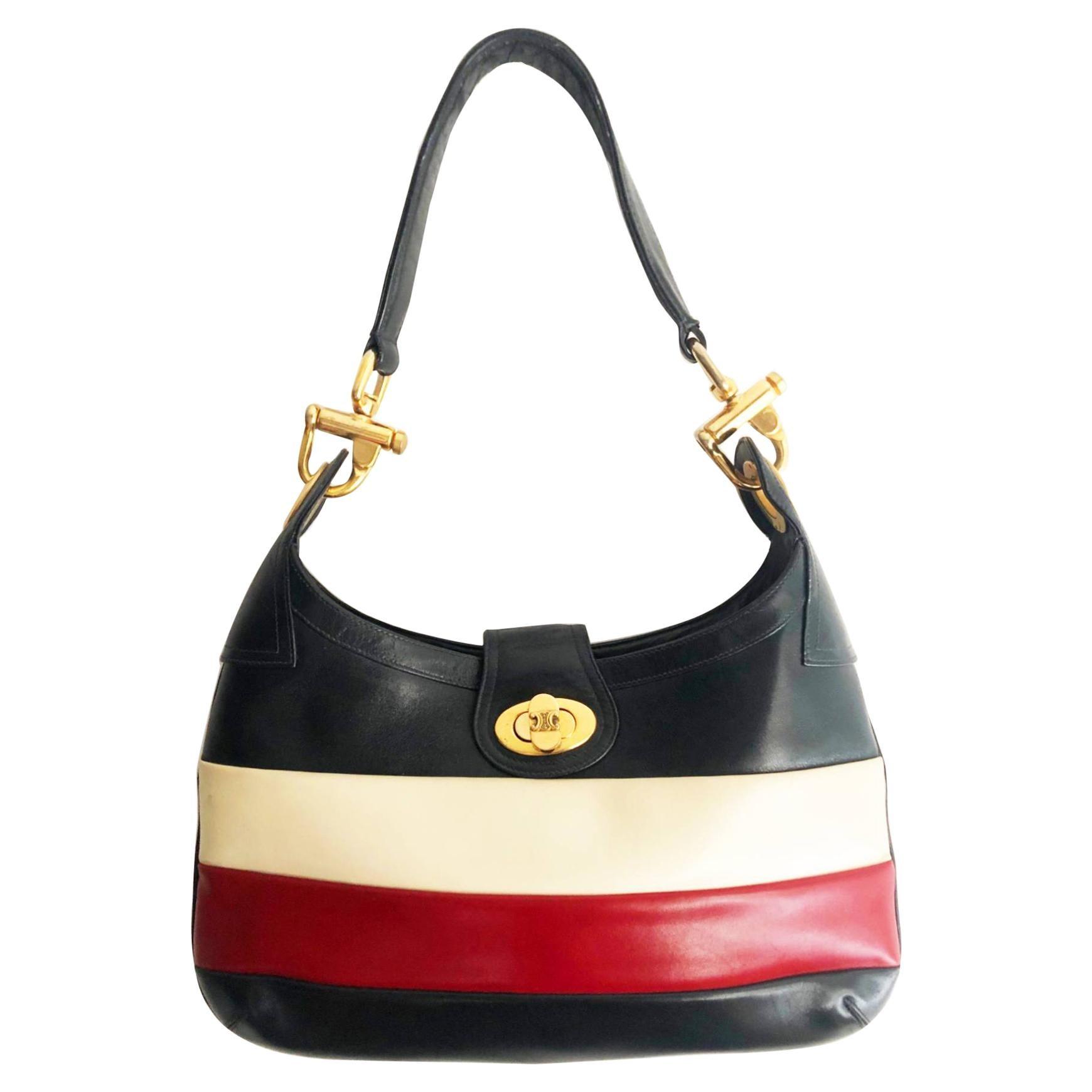 1970s Celine Paris Multi Color Tote Leather Bag