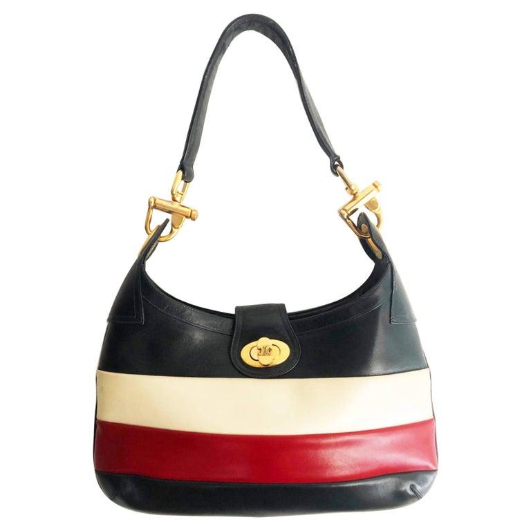 1970s Celine Paris tri color tote bag  For Sale
