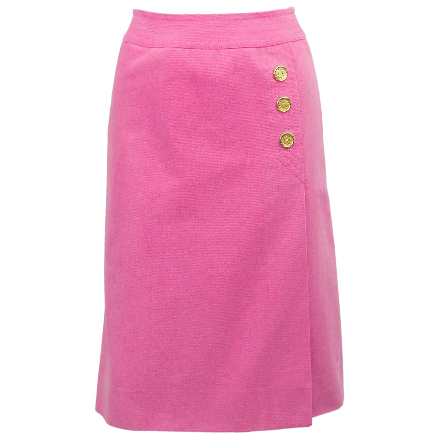 1970s Celine Pink Cotton Denim Wrap Skirt