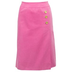 1970s Celine Pink Cotton Denim Wrap Skirt