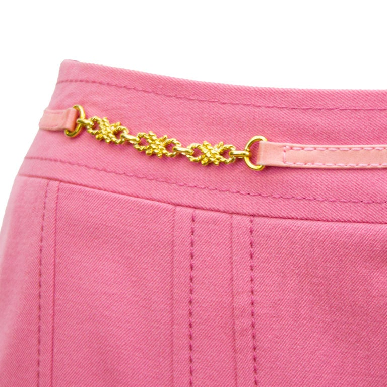 1970s Celine Pink Pleated Wool Skirt  For Sale 1