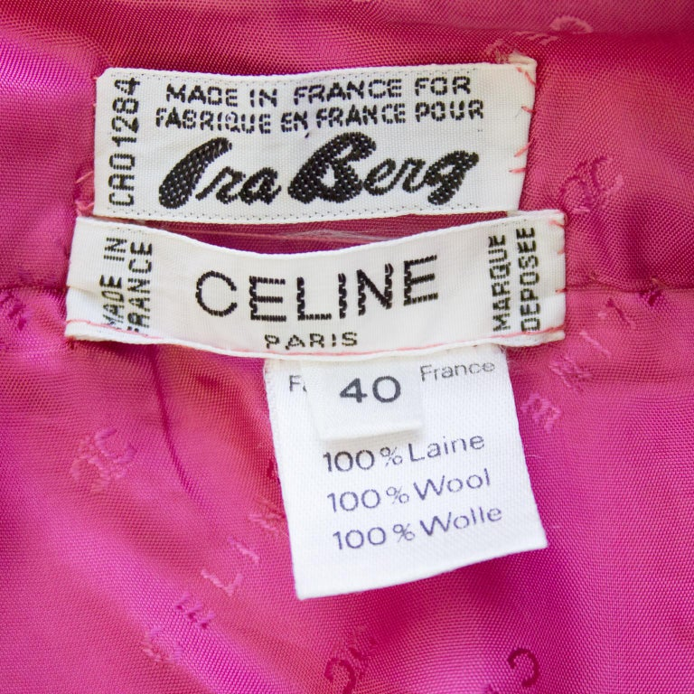 1970s Celine Pink Pleated Wool Skirt  For Sale 2