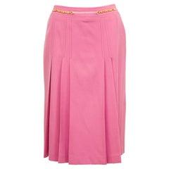 1970s Celine Pink Pleated Wool Skirt