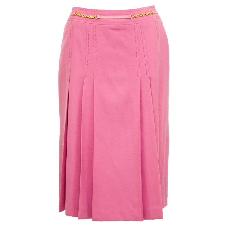 1970s Celine Pink Pleated Wool Skirt  For Sale