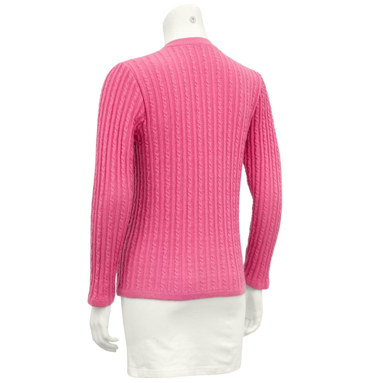 1970s Celine Pink Wool Cable Knit Cardigan  In Excellent Condition For Sale In Toronto, Ontario