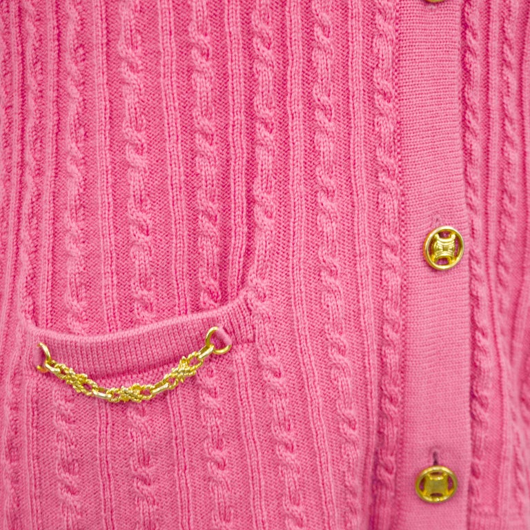 Women's 1970s Celine Pink Wool Cable Knit Cardigan  For Sale