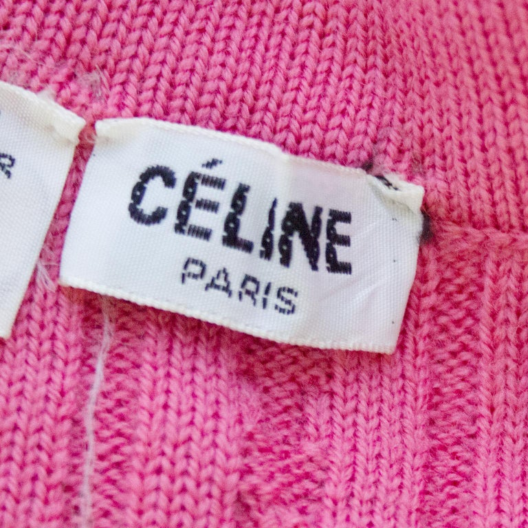 1970s Celine Pink Wool Cable Knit Cardigan  For Sale 1