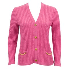 1970s Celine Pink Wool Cable Knit Cardigan